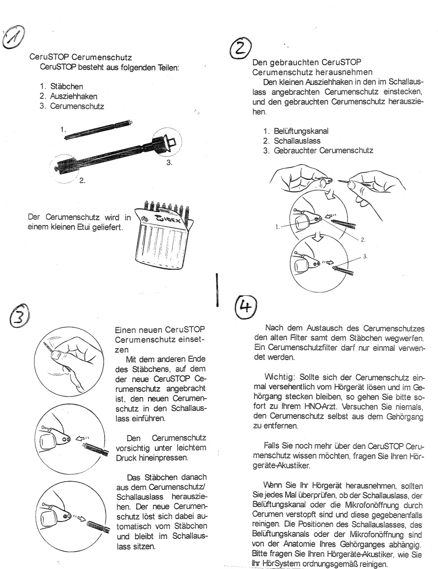CeruStop Filterwechsel Gebrauchsanleitung - WILKE Hörakustik